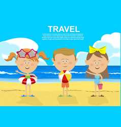 children standing on the beach vector image