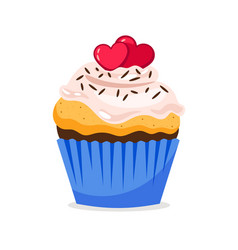 cupcake with hearts decoration and confetti vector image vector image