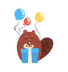 cute cartoon beaver holding blue gift box and vector image vector image