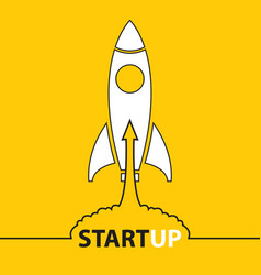 rocket icons start up on yellow background vector image vector image