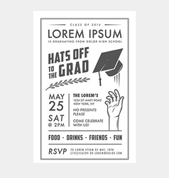 Vintage graduation party invitation card vector image vector image