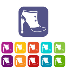 women boots icons set vector image vector image
