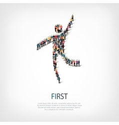 first people sign 3d vector image vector image
