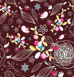 floral texture with birds vector image