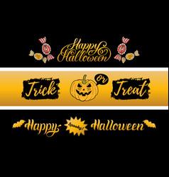 Happy halloween cards set all saints eve vector