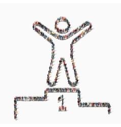 people shape winner pedestal icon vector image vector image