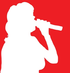 singer woman white silhouette vector image