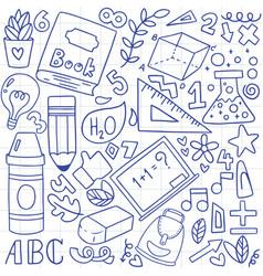 08-09-073 hand drawn set school icons vector