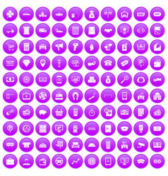 100 coin icons set purple vector