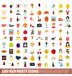 100 hen party icons set flat style vector image