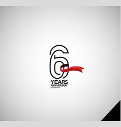 6 years anniversary logotype simple design vector