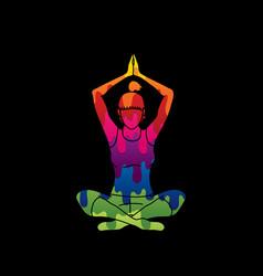 A woman practicing yoga yoga pose vector