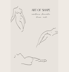 abstract modern female line art shapes vector image