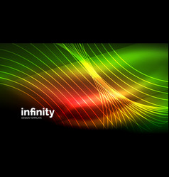 Abstract wave on dark background shiny glowing vector
