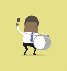 african businessman with big drum vector image