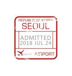 airport border control stamp admitted seoul sign vector image