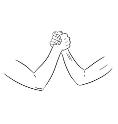 Armwrestling with womens hands of monochrome vector