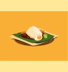 asian traditional food rice with topping vector image