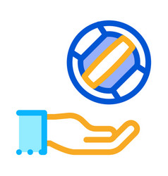 ball flies to hand icon outline vector image