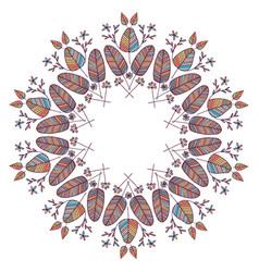 Beautiful boho floral wreath vector