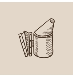 Bee hive smoker sketch icon vector image