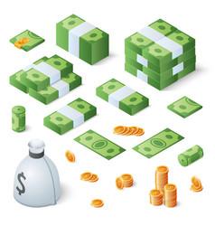 big money set dollar bills and gold coins vector image