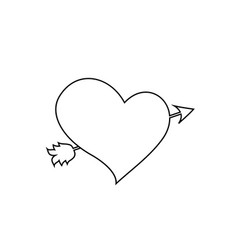 black outline heart pierced with arrow on white vector image