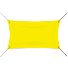 Blank yellow textile or vinyl banner with rope vector