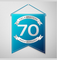 blue pennant with inscription seventy years vector image