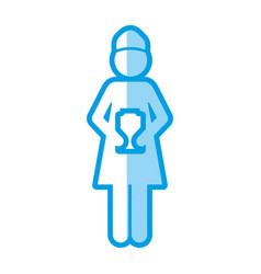 Blue shading silhouette with pictogram of woman vector