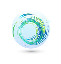 blue waves with bright lights icon vector image