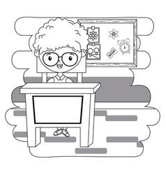 Boy kid in school classroom design vector
