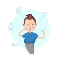 Boy lost a tooth vector image