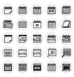 Calendar icon set on circles background for vector