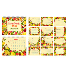 calendar template with exotic tropical fruit frame vector image