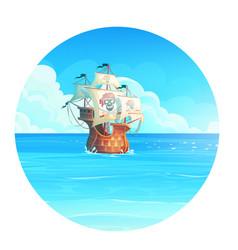cartoon background pirate vector image