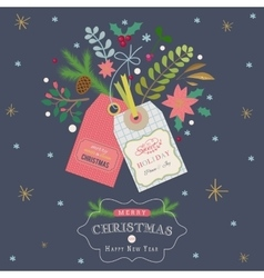 Christmas greeting card with gift tags vector