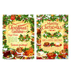 christmas holiday food poster with dinner dish vector image
