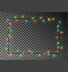 christmas lights border light string frame vector image