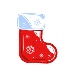 christmas sock isolated on white background vector image