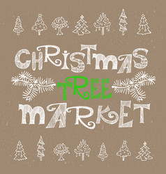 Christmas tree market poster design vector