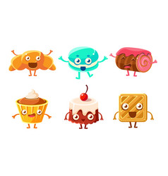 collection funny desserts characters croissant vector image