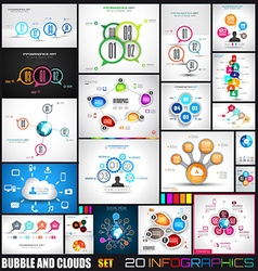 Collection of 20 infographics with bubbles and vector