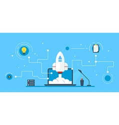 Colored flat on blue background with a rocket that vector image