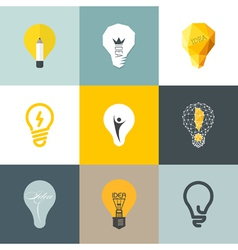Creative light bulb Set of design elements vector image