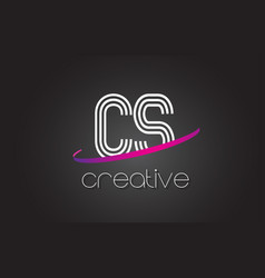 Cs c s letter logo with lines design and purple vector