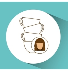 Cup coffee pile with female design vector