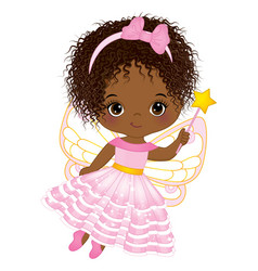 Cute african american fairy with magic wand vector