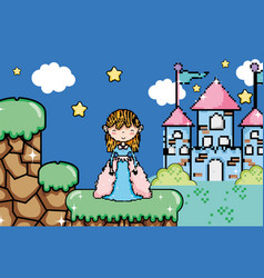 cute pixelated videogame fantasy scenery vector image