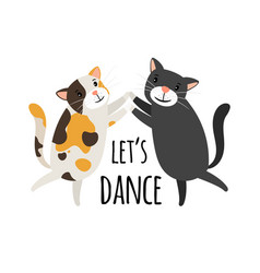 Dancing cats foxtrot or tango cat dancers vector